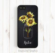 Chalkboard Sunflower Mason Jar Personalized First Name iPhone case