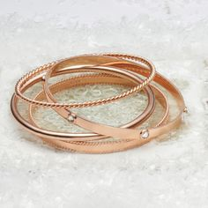 Elegant twisted bangle designed using Rose Gold plated Silver, excellent for stacking. Stackable Bracelets, Silver Cuff, Rose Gold Plates, Crystal Jewelry, Jewelry Crafts, Swarovski Crystals, Cuffs, Bangles, Samara