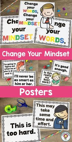 Growth Mindset Posters Change Your Words Change Your Mindset 5th Grade Classroom, Classroom Signs, Science Classroom, Kindergarten Classroom, Classroom Ideas, Classroom Organization, Classroom Management, English Posters, Growth Mindset Posters