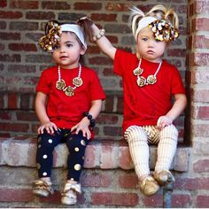 """"""" these little besties from @foreverandforava !! We sure LOVE your style! Gold striped Leggings & Gold Flower Necklaces by @nevernola ! Tag for other…"""""""