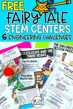 Engage your students with these FREE fairy tale STEM challenges and activities! Includes six different engineering activities based on popular fairy tales. Choose from Rapunzel, The Three Little Pigs, Jack and the Beanstalk, Goldilocks and the Three Bears, The Gingerbread Man, and The Three Billy Goats Gruff. Perfect for kindergarten, first grade, and preschool. Your students will love these!