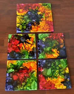 "Alcohol Ink Ceramic Coasters - ""Fiesta"" Color Pallet"