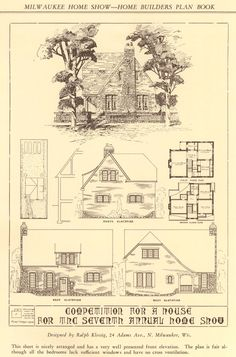 Interesting plan book of submissions of English style homes with critiques -- Home Builders Plan Book, 1929. Small House Service Bureau. From the Association for Preservation Technology (APT) - Building Technology Heritage Library, an online archive of period architectural trade catalogs. Select an era or material era and become an architectural time traveler.