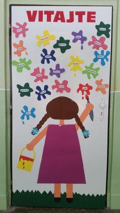 Classroom Door, Preschool Classroom, Preschool Activities, School Hallway Decorations, Class Decoration, Welcome To Kindergarten, Kindergarten Design, September Crafts, School Labels
