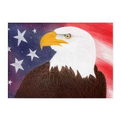 Patriotic American Eagle with American Flag Acrylic Wall Art  $63.28  by maboles  - custom gift idea