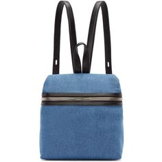 Kara SSENSE Exclusive Blue Denim Small Backpack (1,480 SAR) ❤ liked on Polyvore featuring bags, backpacks, zipper bag, blue denim backpack, zip handle bags, structured bag and blue bag