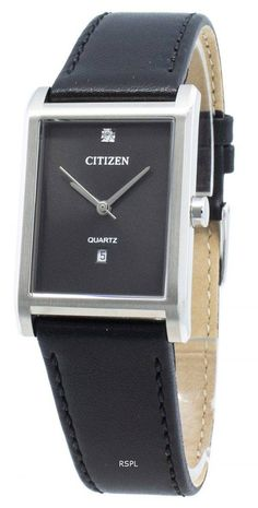 Features:  Stainless Steel Case Leather Strap Quartz Movement Mineral Crystal Black Dial Analog Display Diamond Accents Date Display Screw Down Crown Solid Case Back Buckle Clasp  Approximate Case Diameter: 26mm Approximate Case Thickness: 7mm