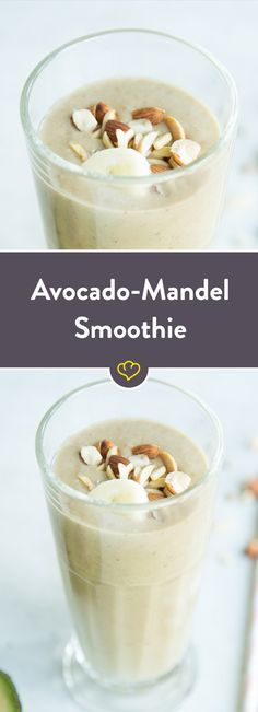 Neues Smoothie-Traumpaar: Avocado und Mandel - cremig, nussig und super zum Schlürfen. Mit Banane und Zimt mixen, fertig ist der Power-Shake.