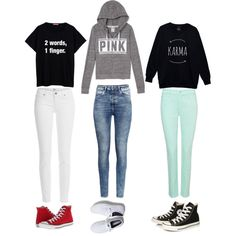 skool days by contrerasyoli on Polyvore featuring polyvore fashion style Paige Denim NYDJ H&M Keds Converse