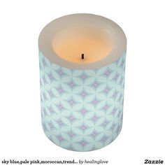 sky blue,pale pink,moroccan,trendy,trellis,diamond flameless candle