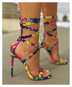 New women's fashion strappy heels mulit color tocuri stiletto, tocuri stile Lace Up Heels, Sexy Heels, Pumps Heels, Stiletto Heels, Heeled Sandals, Shoes High Heels, Wedge High Heels, Floral Print Heels, Designer Shoes