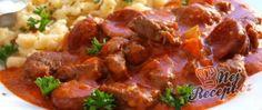Recept Hovězí paprikáš s klobásou a nočky Beef, Red Peppers, Meat, Steak