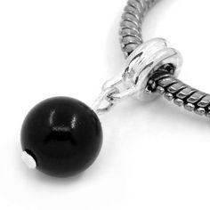 European Charm Dangle Bead Black Round Ball Silver Plated X1 #Unbranded