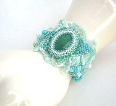 Beaded cuff bracelet Beadwork bracelet seed bead jewelry by ibics, $80.00