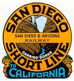 San Diego and Arizona Railway 1906-1932. Sold to SP in 1932 as San Diego & Arizona Eastern Railway.