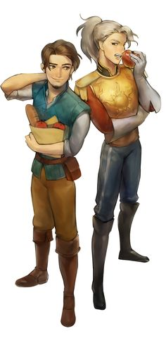 "Flynn Rider and an anthropomorphized (humanized) version of Maximus from ""Tangled"" - Art by mingiz.tumblr.com"