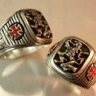 Artisan made Heraldic Lion Knights Templar Cross ring sterling silver