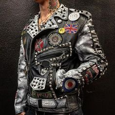 FSLA Rock 'N' Roll Swindle Punk Leather Jacket by Cody Varona. One of a kind Handmade Leather Jacket, with hand painted sleeves and zombie lining. Spiked Leather Jacket, Vintage Leather Jacket, Biker Leather, Leather Jackets, Heavy Metal Fashion, Punk Outfits, Fashion Outfits, Mode Punk, Moda Masculina