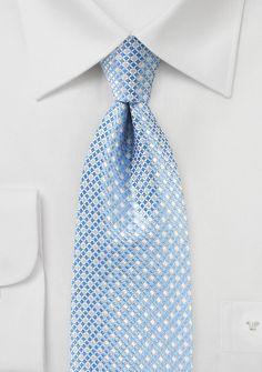 Light Blue Silk Tie with Mini Checks
