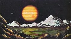 David Hardy - Jupiter from Europa (from The New Challenge of the Stars by Patrick Moore & David Hardy 1977)