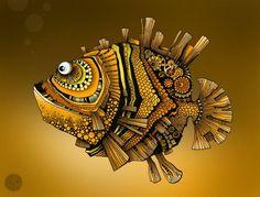 Фигурки рыб – роспись красками и гелевой ручкой. Обсуждение на LiveInternet - Российский Сервис Онлайн-Дневников Steampunk Drawing, Gothic Fantasy Art, Cartoon Fish, Fish Sculpture, Fish Design, Environment Concept Art, Driftwood Art, Pen Art, Fish Art