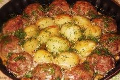 Cutlets with potatoes in sour cream and tomato sauce