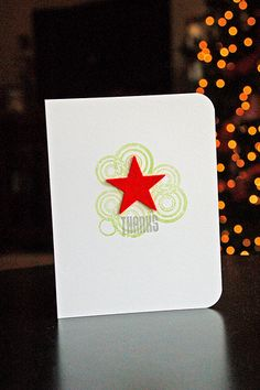 """stamped off once with the circles to fade into background. felt star and """"thanks"""""""