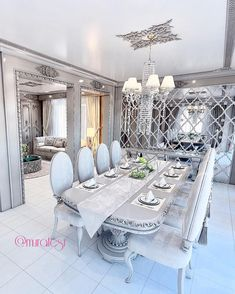 23 Clever DIY Christmas Decoration Ideas By Crafty Panda Luxury Dining Tables, Luxury Dining Room, Luxury Rooms, Dining Room Table Decor, Dining Room Design, Room Partition Designs, Beige Living Rooms, Living Room Decor Inspiration, Room Decor Bedroom
