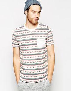 Enlarge ASOS T-Shirt With Stripe Jacquard Design And Contrast Pocket