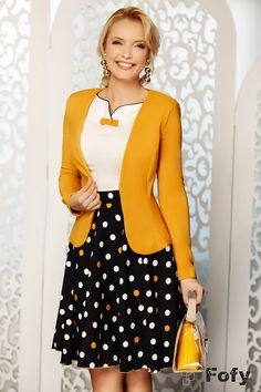 Elegant yellow mustard jacket Fofy Sacou Fofy elegant Yellow-mustard color Textile cloth Croi cambrat Long sleeve Without revere According to both a … - All About Mode Outfits, Office Outfits, Black Coat Outfit, Sophisticated Style, Most Beautiful Women, Jackets For Women, Dressing, Stylish, Long Sleeve
