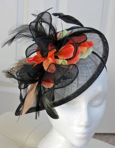 Black fascinator - orange mint coral petals purple on black wedding hat  PARK PLEASURE ef0cd10527eb