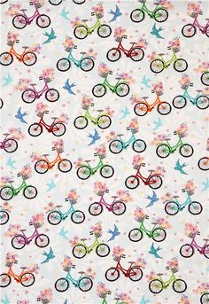 Tela azul claro con bicis y pájaros de Robert Kaufman Ashton Road - Telas retro - Textiles - tienda kawaii modesS4u