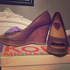 Michael Kors wedges Lightly worn wedges, still in awesome shape. Comes with original Kors box. Michael Kors Shoes Wedges