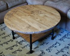 """round coffee table, industrial wood table 30"""" x 20"""", reclaimed"""