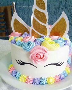 Festa do Unicórnio +de 200 Ideias para Sua Festa! Unicorn Themed Birthday Party, Birthday Cake, Chocolate Hazelnut Cake, Savoury Cake, Mini Cakes, Party Cakes, Cake Designs, Cake Decorating, Cupcakes