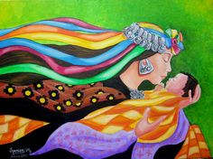 María Elena Spencer ORIGINAL Mapuche madre e hijo Acrílico sobre tela, 70x50 cms Mexican Folk Art, Mother And Child, Wallpaper S, Black Art, Art Education, Mother Earth, Illustration Art, Arts And Crafts, Watercolor