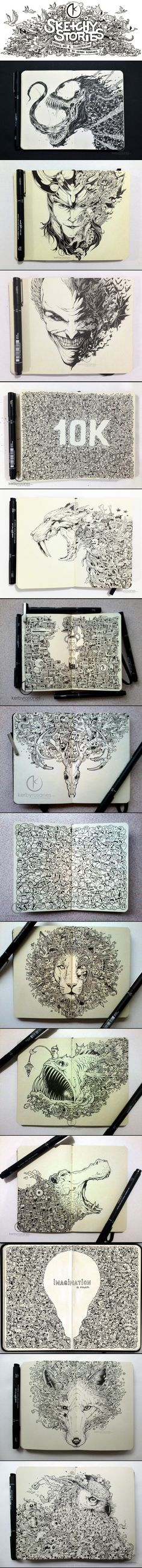 Insanely detailed and precise pen and ink moleskine pages by Kerby Rosanes.