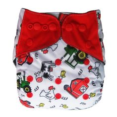 Charcoal Bamboo All In One Cloth Diaper with Pocket, Farm