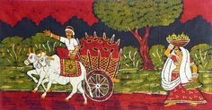 Village+People+Going+to+Market+(Batik+Painting+on+Cotton+Cloth+-+Unframed)