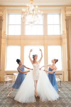 Ballet Inspired Wedding Shoot -- Short after-wedding dress with removable tulle skirt. Lovely! See more here: http://www.StyleMePretty.com/2014/05/15/richmond-ballet-wedding-inspiration/ Photography: JessicaMaida.com