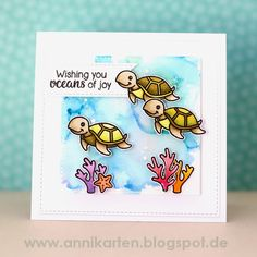 Sunny Studio Stamps: Oceans of Joy & Magical Mermaids Turtle Card by Anni Lerche