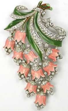 Trifari with Crown 'Pink Lillies' Brooch                   1940 by Widmerpool