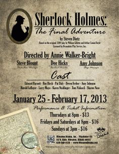 """Sherlock Holmes: The Final Adventure"" poster design by Traci A. Cidlik. This show plays 1/25/13 - 2/17/13 at Wheaton Drama."