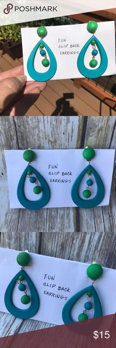 Funky 1960 earrings turquoise green vintage Purchased these from an estate sale from the cutest little lady she actually wrote up the card. These were hers. These are from the 1960. Very vintage. Very funky. Original beatnik  style. She said that Twiggy wore a pair exactly like that. Jewelry Earrings