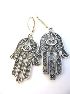 Fatima Hamsa Hand pewter earrings, dangle, silver jewelry