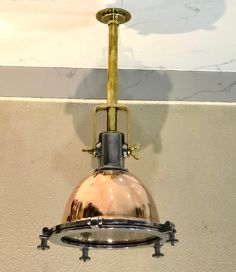 Nautical New Aluminum Brass & Copper Smooth Cargo Pendant ship Ceiling Light Small Pendant Lights, Brass Pendant Light, Hanging Lights, Wall Lights, Ceiling Lights, Bulkhead Ceiling, Nautical Lighting, Nautical Marine, Brass Pipe