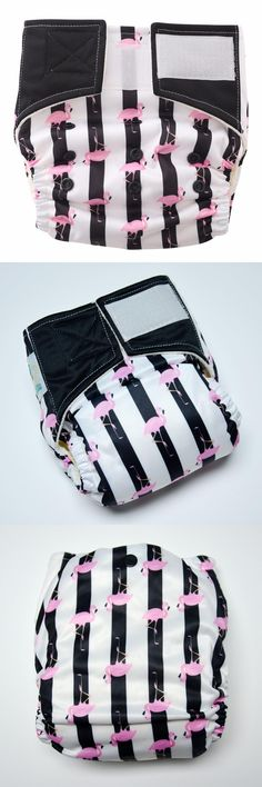 [Visit to Buy] Fashion Stripes!I love Flamingos,One Size Bamboo Diaper Pocket (Newborn to 30lbs.) #Advertisement