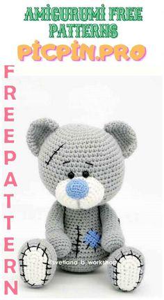 Crochet Teddy Bear Pattern Free, Teddy Bear Patterns Free, Knitted Teddy Bear, Crochet Animal Patterns, Stuffed Animal Patterns, Crochet Patterns Amigurumi, Free Pattern, Teddy Bear Toys, Crochet Animals