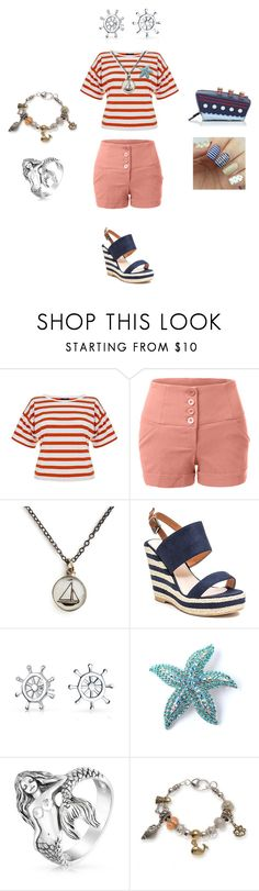 """""""Nautical/Striped Shirts contest entry"""" by odscene ❤ liked on Polyvore featuring Theory, LE3NO, Chart Metal Works, French Blu, Bling Jewelry, Kim Rogers, Kate Spade, Nautical, feminine and contestentry"""