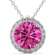 Allurez Halo Round Pink Tourmaline & Diamond Pendant Necklace 14k... (12,550 PEN) ❤ liked on Polyvore featuring jewelry, necklaces, diamond necklace, pink tourmaline necklace, 14 karat gold necklace, diamond jewellery and diamond pendant necklace